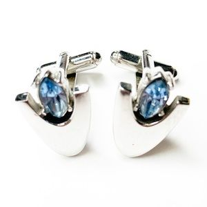 Vintage Mid Century Silver Blue Stone Cuff Links